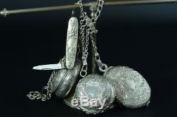Antique EDWARDIAN SILVER STERLING CHATELAINE Charms Knife Powder Box Pill Mirror
