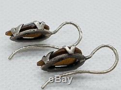 Antique Edwardian Foiled Saphiret Glass Sterling Silver Vintage Earring