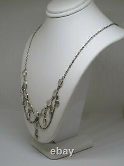 Antique English c1900 Natural Moonstone Festoon Necklace in Silver 7.6g