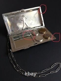 Antique Ladies Sterling Silver Bag EP singed Compact Purse Coin holder