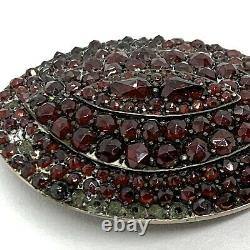 Antique Victorian Bohemian Sterling Silver Garnet Pin Brooch. Large 2. Parts