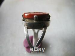 Antique Victorian Silver Engraved Snake Red Jasper Stone Ring
