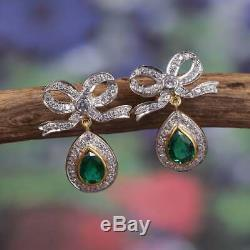 Antique/Vintage 18k Yellow Gold Over 1.22ct Diamond Colombian Emerald Earrings
