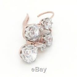 Antique Vintage Art Deco 3.55Ct Diamond Dangle Lever Back 14K Gold Over Earrings