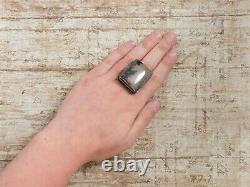 Antique Vintage Art Deco 925 Sterling Silver Picture Agate HUGE Poison Ring Sz 6