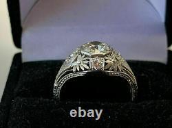 Antique Vintage Art Deco Engagement Ring 3 Ct Round Diamond 14K White Gold Over