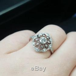 Antique Vintage Art Deco Engagement Ring In 925 Sterling Silver Circa'1935