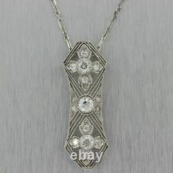 Antique Vintage Art Deco Filigree Pendant 14k White Gold Over 2 Ct Round Diamond