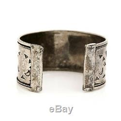 Antique Vintage Art Deco Sterling Silver Lotus Flower Mughal 7.25 Cuff Bracelet