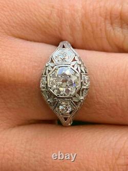 Antique Vintage Art Deco Wedding Filigree Ring 14K White Gold Over 2 Ct Diamond