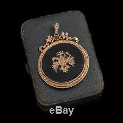 Antique Vintage Art Nouveau Sterling 84 Silver Russian Diamond Ruby 2.5 Pendant