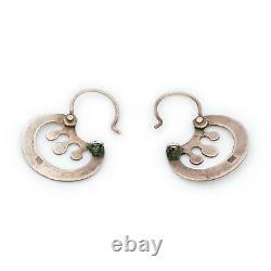 Antique Vintage Deco Mid Century 925 Sterling Silver Modernist Drop Earrings 3g