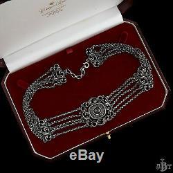 Antique Vintage Deco Sterling Silver Austrian Garnet Filigree Choker Necklace