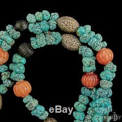 Antique Vintage Deco Sterling Silver Chinese Turquoise Kylin Rider Necklace