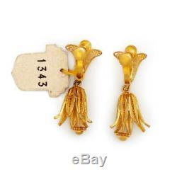 Antique Vintage Deco Sterling Silver Gold Portuguese Filigree Floral Earrings
