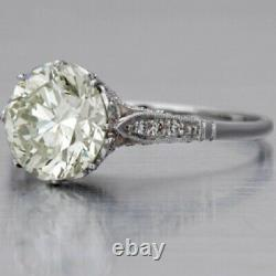 Antique&Vintage Engagement Ring 3.50CT Round Cut White Diamond 14K White Gold FN