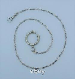 Antique Vintage Niello 800 Silver twisted knot link Fob Pocket Watch Chain 18