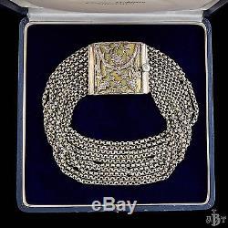 Antique Vintage Nouveau Sterling 800 Silver Austro Hungarian 10 Strand Necklace