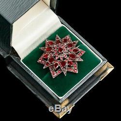 Antique Vintage Nouveau Sterling 800 Silver Bohemian Garnet Starburst Pin Brooch