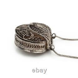 Antique Vintage Nouveau Sterling 800 Silver Filigree Coin Purse Locket Necklace