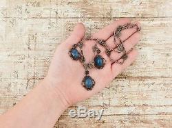 Antique Vintage Nouveau Sterling Silver Etruscan Lapis Lazuli Festoon Necklace