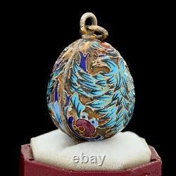 Antique Vintage Nouveau Sterling Silver Gold Russian Enamel Faberge Pendant 5.1g