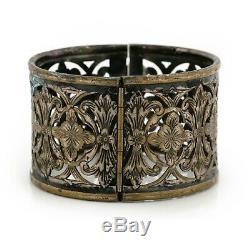Antique Vintage Nouveau Sterling Silver Plated Jugendstil Floral HUGE Bracelet