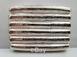Antique / Vintage Solid Sterling Silver Ornate Cigarette Case 3 1/2 x 2 1/2 80g