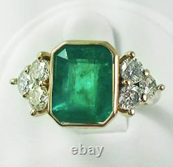 Art Deco 2.45 Ct Emerald Green Sapphire Antique Vintage Silver Engagement Ring