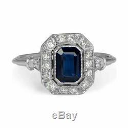 Art Deco 2.75 Carat Blue Sapphire Emerald Cut Vintage 925 Silver Wedding Ring