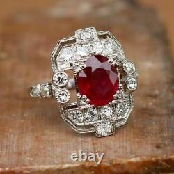Art Deco 3.20Ct Red Ruby & Diamond 925 Sterling Silver Vintage Engagement Ring