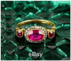 Art Deco 4.88 Ct Sapphire Antique Vintage Wedding Ring 925 Silver Over 14kt Gold