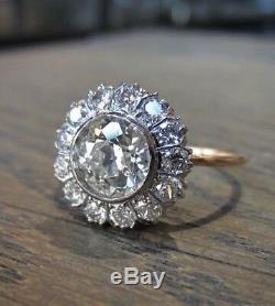Art Deco 925 Silver 3.25 Ct White Diamond Vintage Victorian Antique Jewelry Ring