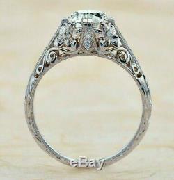 Art Deco Engagement Wedding Ring Vintage Ring 2.2 Ct Round Diamond 14K Gold Over