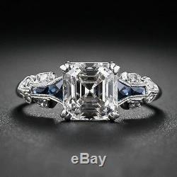 Art Deco Vintage Antique White Asccher Cut Engagement Ring 925 Sterling Silver