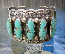 BRACELET LARGE CUFF TURQUOISE STERLING SIGNED WB WILBERT BENALLY 1970's NAVAJO