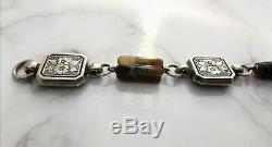 Beautiful Antique Victorian Scottish Silver and Agate Bracelet