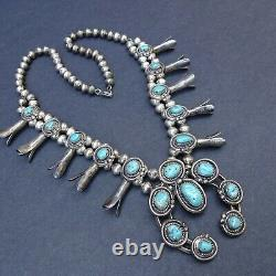 CLASSIC Vintage NAVAJO Sterling Silver Turquoise SQUASH BLOSSOM Necklace