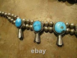 DYNAMITE Vintage Navajo Sterling CARICO LAKE Turquoise SQUASH BLOSSOM Necklace