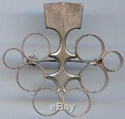 David Andersen Norway Vintage Modernist Sterling Silver Circles Brooch Pin