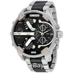 Diesel Mr Big Daddy 2.0 Silver Black Leather Quad Time Stainless 56MM DZ7349 NEW