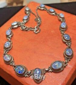 ESTATE VINTAGE STERLING SILVER OPAL NECKLACE GEMSTONE iridescent opal cabochons