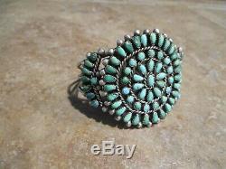 EXUBERANT Vintage Zuni Sterling Silver PETIT POINT Turquoise Cluster Bracelet