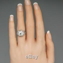 Edwardian Vintage Antique Engagement Wedding Ring 925 Silver Ring 2.5 Ct Diamond