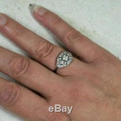 Edwardian Vintage Art Deco Engagement Wedding Ring 2.5 Ct Diamond 14k Gold Over
