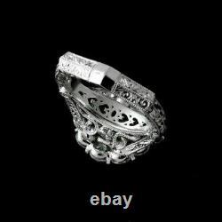 Engagement Ring Vintage Art Deco Filigree Ring 14K White Gold Over 3 Ct Diamond