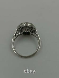Engagement Vintage Antique Art Deco Ring 3 Ct Round Diamond 14K White Gold Over