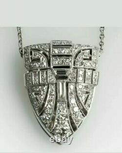 Estate 1950'S Art Deco Diamond Pendant With 18 Chain In 14K White Gold Over