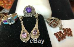 Estate Vintage Lot Of 5 Sterling Silver Gemstone Jewelry Rings Earrings Garnet