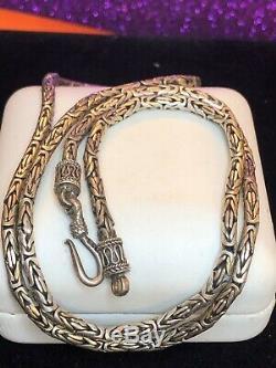 Estate Vintage Sterling Silver Chain Necklace Byzantine